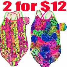 2 for $12 Girl's 7-14 printed one pcs swimwear