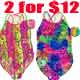 2 for $12 Girl's 7-14 printed one pcs swimwear