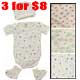 3 for $8 Infant's bib with snap bottom with booties & hat
