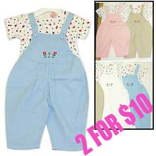 2 for $10  Infant girl's overall set with T-shirt