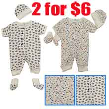 2 for $6  Infant's S/S printed bib