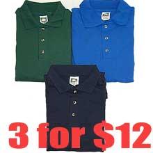 3 for $12 Men's 100% cotton medium weight POLO shirt