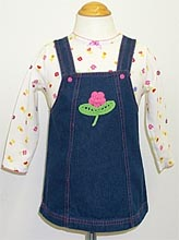 Infant Girl's long sleeve knit top with denim dress
