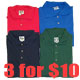 3 for $10 Men's (Slightly Irregular) POLO shirt